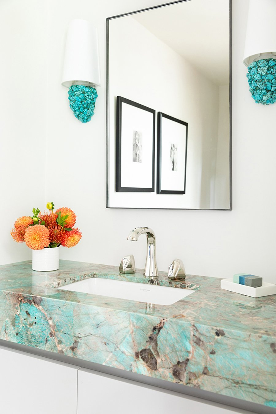 Veronica Sconce by Matthew Studios in Turquoise and Polished Chrome. Interiors by KJ Designs.