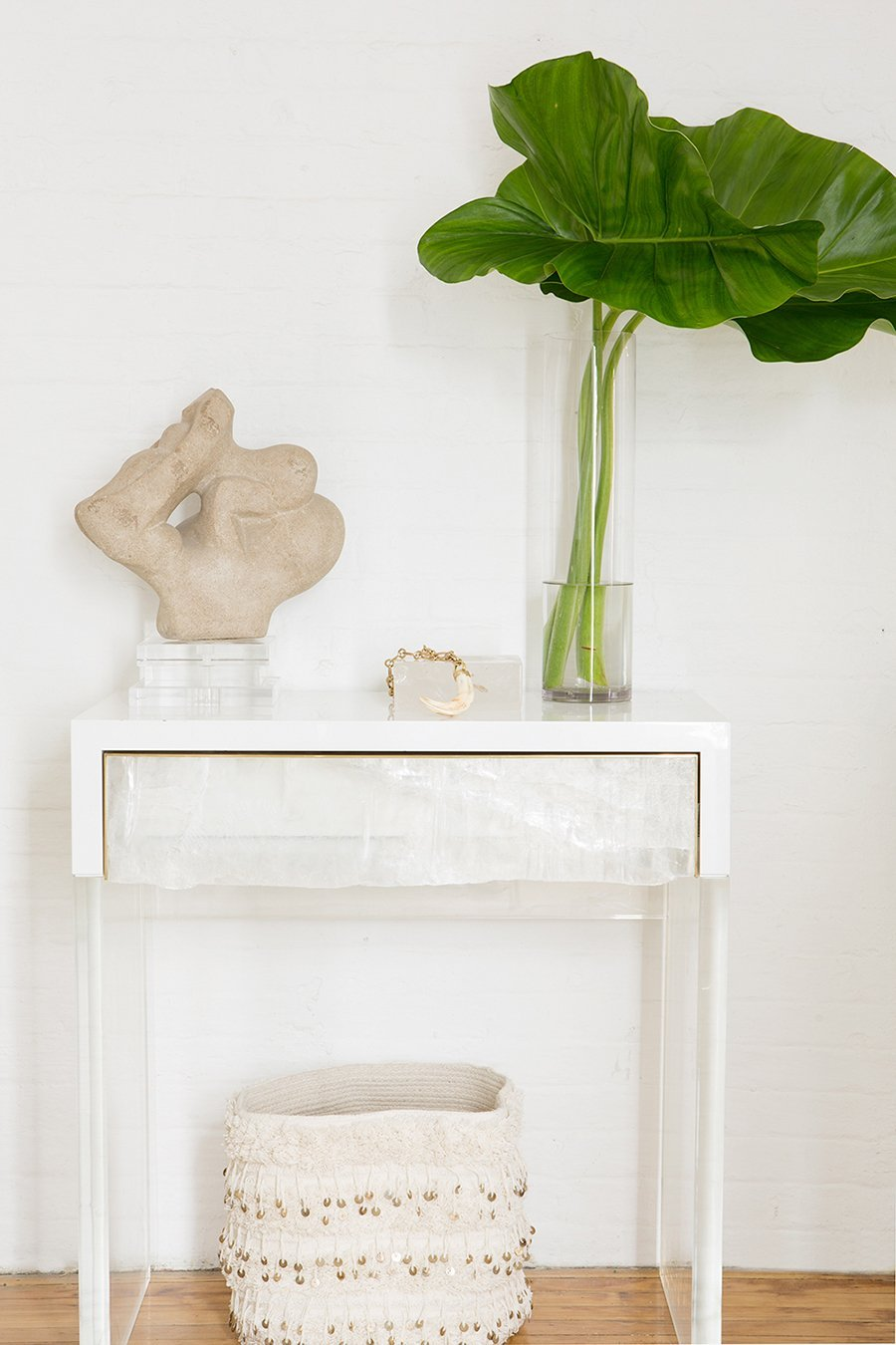 Custom Imogene Console Table in Selenite, Satin Brass, and White Lacquer.