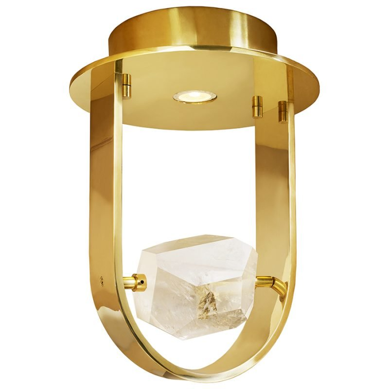 Atlas Flush Mount by Matthew Studios in Clear Quartz and Polished Brass