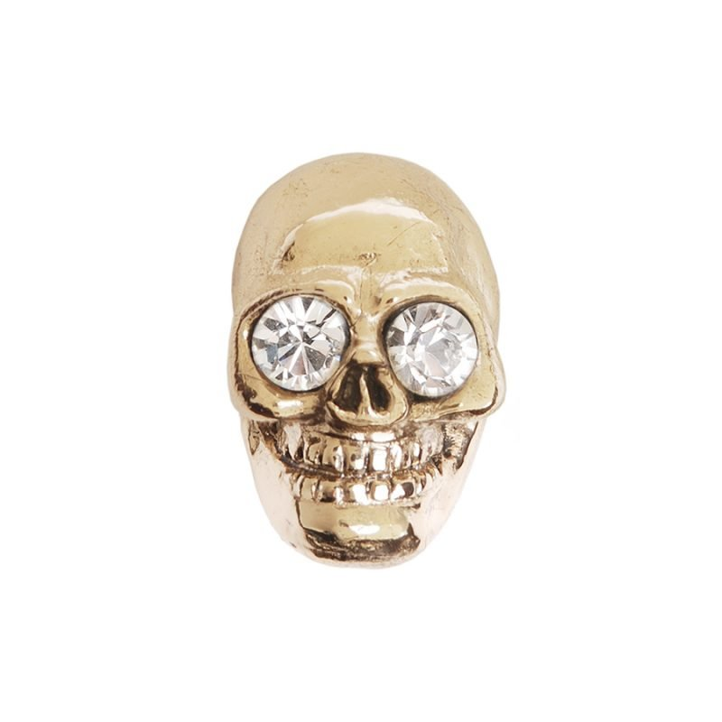 Charlie Skull Knob by Matthew Studios with Clear Eyes in Polished Brass