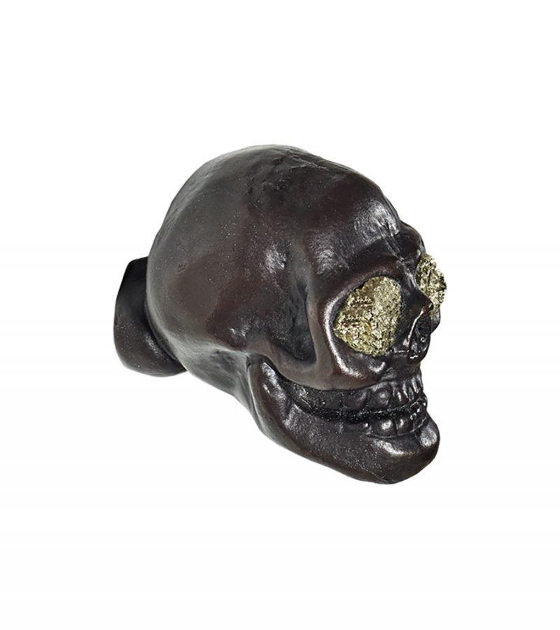 Charlie Skull Knob by Matthew Studios with Pyrite Eyes in Dark Bronze