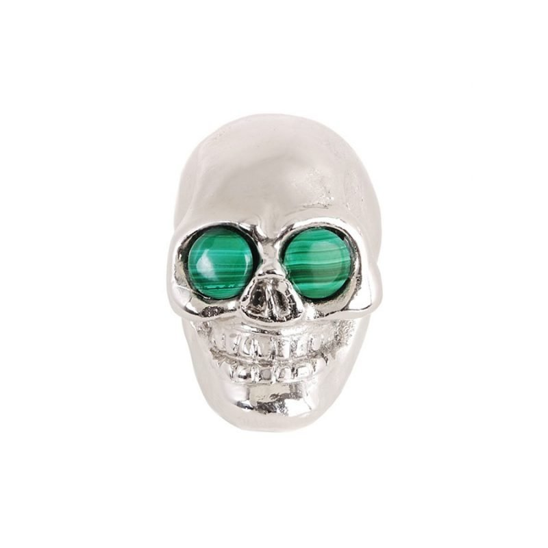Charlie Skull Knob by Matthew Studios with Malachite Eyes in Polished Nickel