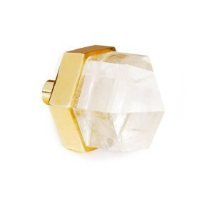 Thea Large Knob by Matthew Studios in Clear Quartz and Polished Brass.