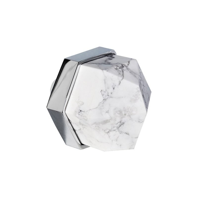Thea Large Knob by Matthew Studios in Howlite and Polished Chrome.