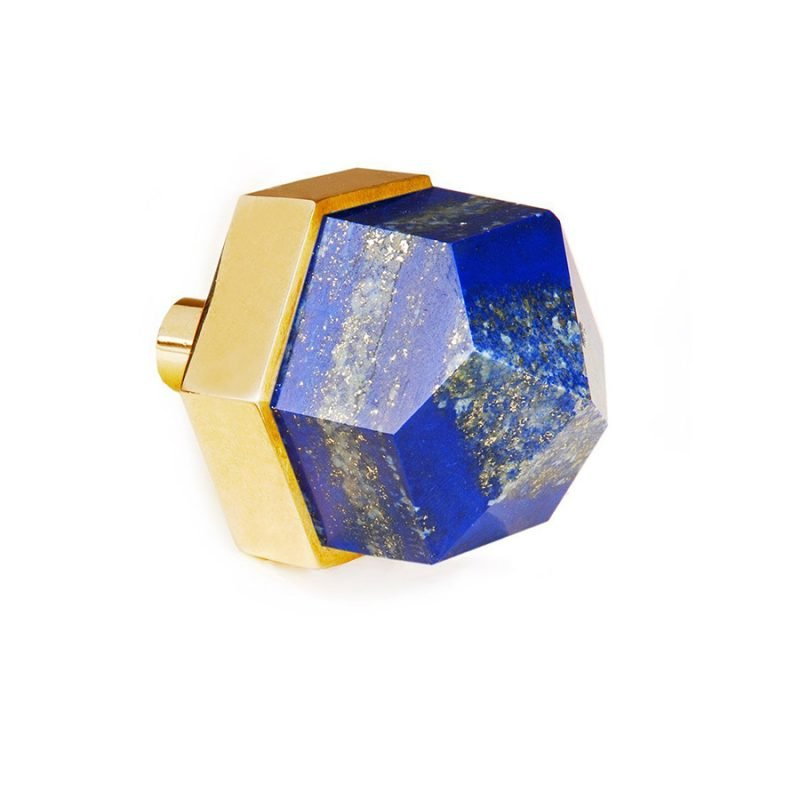 Thea Large Knob by Matthew Studios in Lapis Lazuli and Polished Brass.