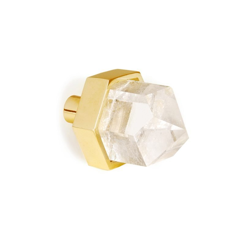 Thea Small Knob by Matthew Studios in Clear Quartz and Polished Brass.