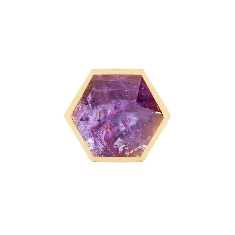 Thea Small Knob by Matthew Studios in Amethyst and Polished Brass.