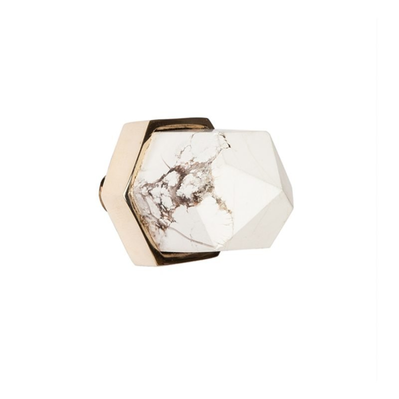 Thea Small Knob by Matthew Studios in Howlite and Polished Brass.