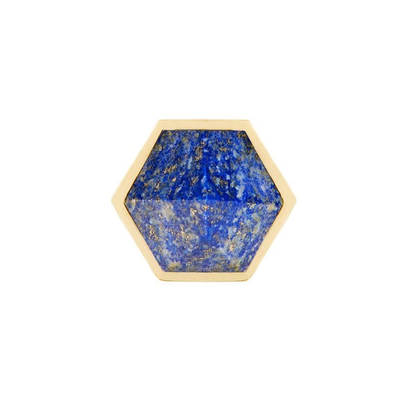 Thea Small Knob by Matthew Studios in Lapis Lazuli and Polished Brass.