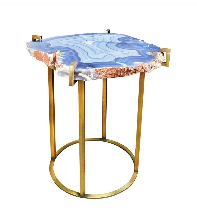 Quinn Table by Matthew Studios in Agate and Antique Brass.