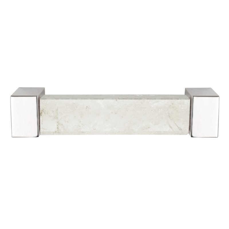 Rowan Small Pull by Matthew Studios in Clear Quartz and Polished Nickel.
