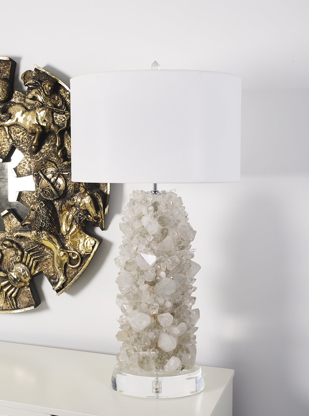 Custom Tall Veronica Table Lamp by Matthew Studios in Clear Quartz and Lucite.