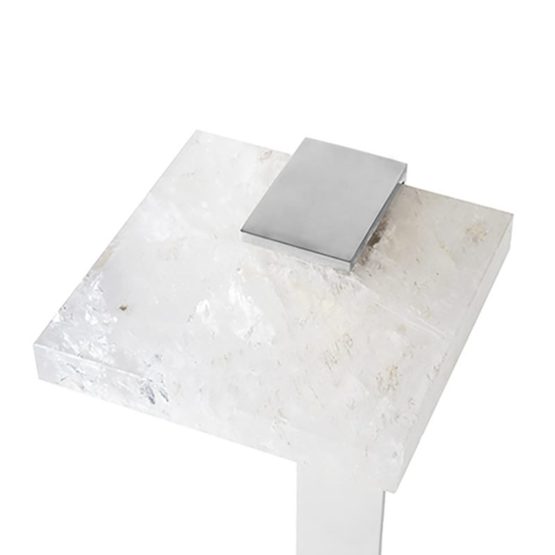 Bennett Drinks Table by Matthew Studios in Clear Quartz and Polished Nickel