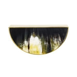 Beckett Pull by Matthew Studios, in Dark Variegated Horn and Unlacquered Polished Brass