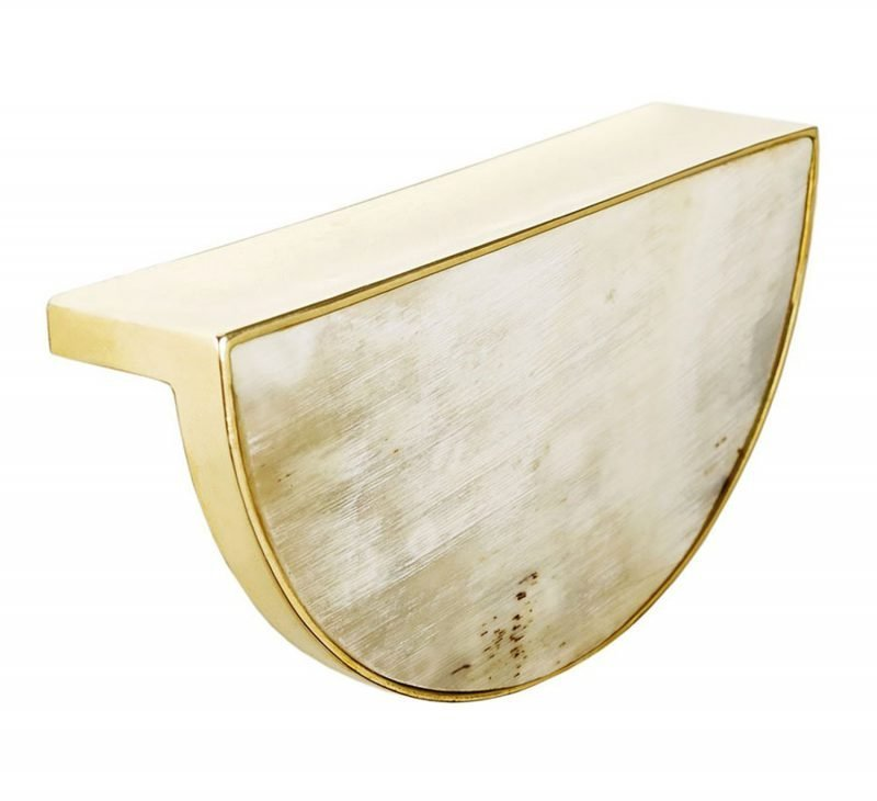 Beckett Pull by Matthew Studios, in White Colorful Horn and Unlacquered Polished Brass