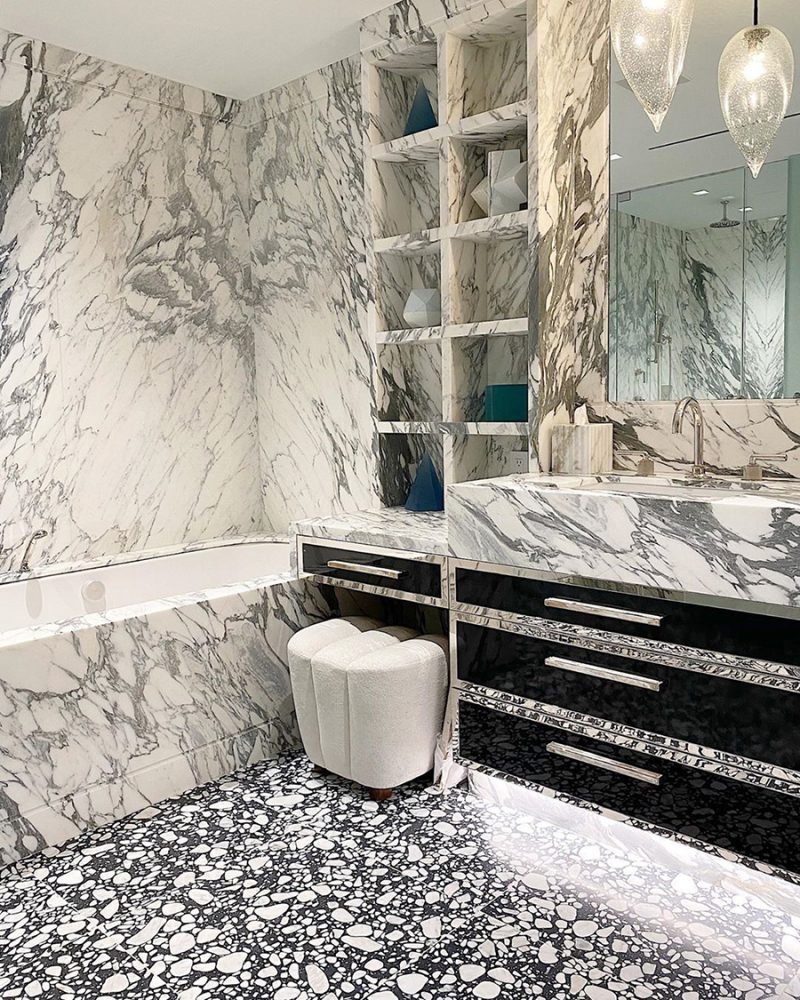 Langston Edge Pull Large by Matthew Studios in White Colorful Horn and Polished Nickel. Interiors by Colette van den Thillart Interior Design.