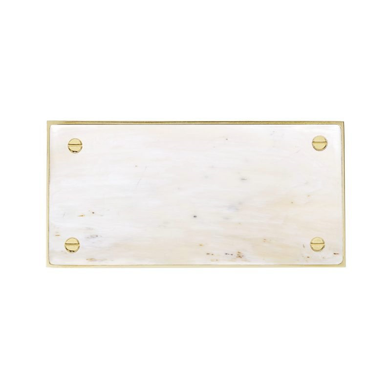Langston Rectangle Pull by Matthew Studios in White Colorful Horn and Polished Brass