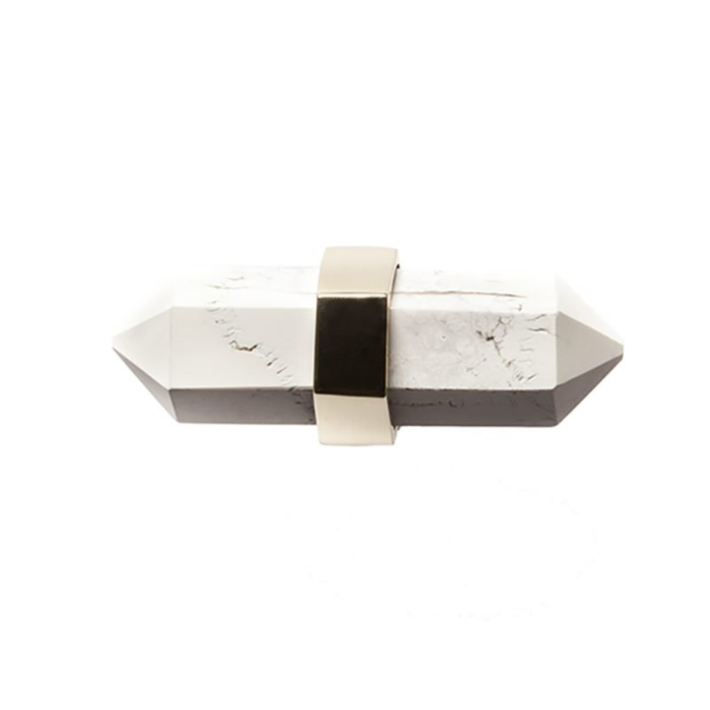 Freya Small Pull by Matthew Studios in Howlite and Polished Brass.