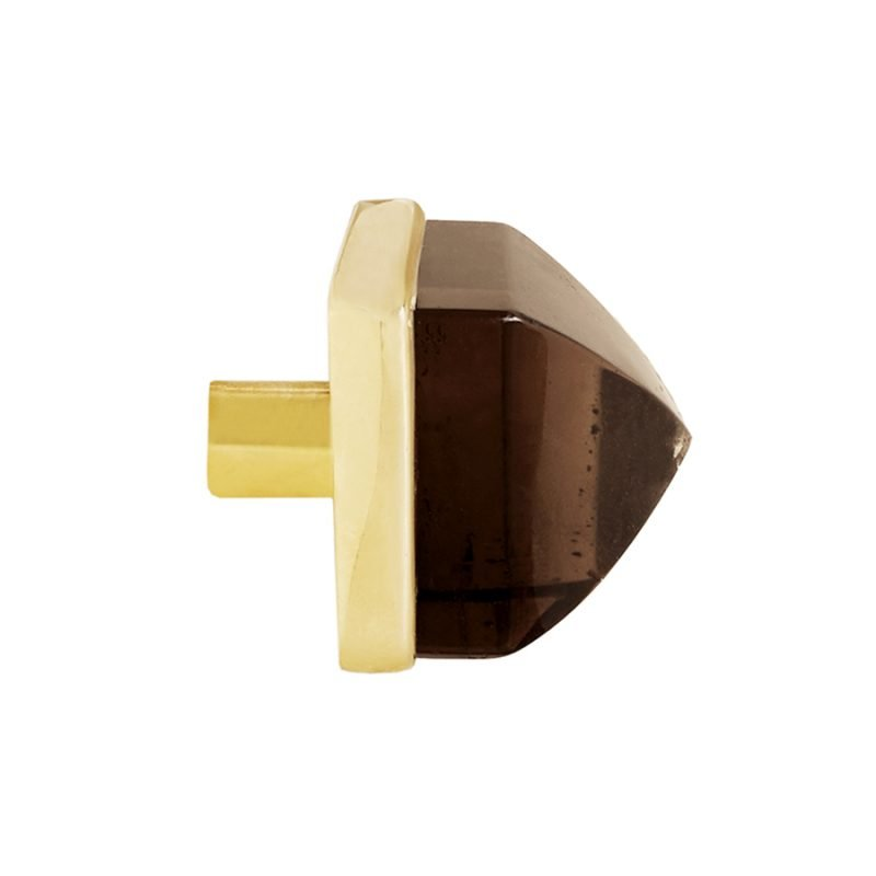 Hayden Large Knob by Matthew Studios in Smokey Quartz and Polished Brass