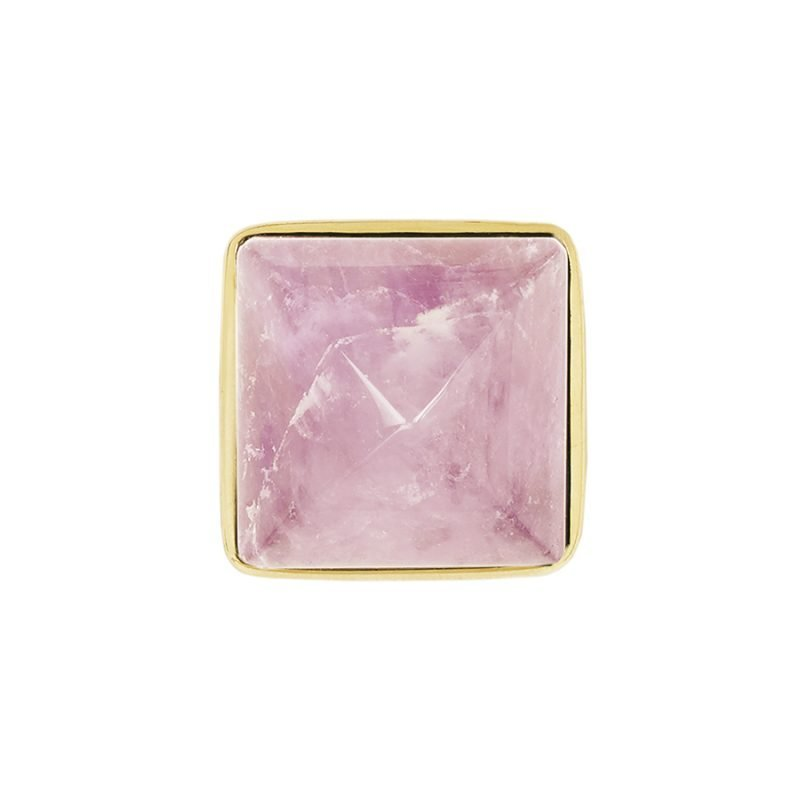 Hayden Large Knob by Matthew Studios in Rose Quartz and Polished Brass