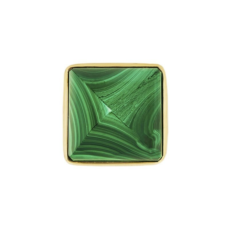 Hayden Large Knob by Matthew Studios in Malachite and Polished Brass