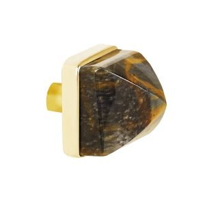Hayden Large Knob by Matthew Studios in Tiger's Eye and Polished Brass