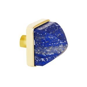 Hayden Large Knob by Matthew Studios in Lapis Lazuli and Polished Brass