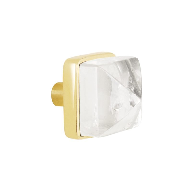 Hayden Small Knob by Matthew Studios in Clear Quartz and Polished Brass