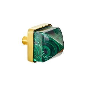 Hayden Small Knob by Matthew Studios in Malachite and Polished Brass