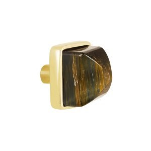 Hayden Small Knob by Matthew Studios in Tiger's Eye and Polished Brass