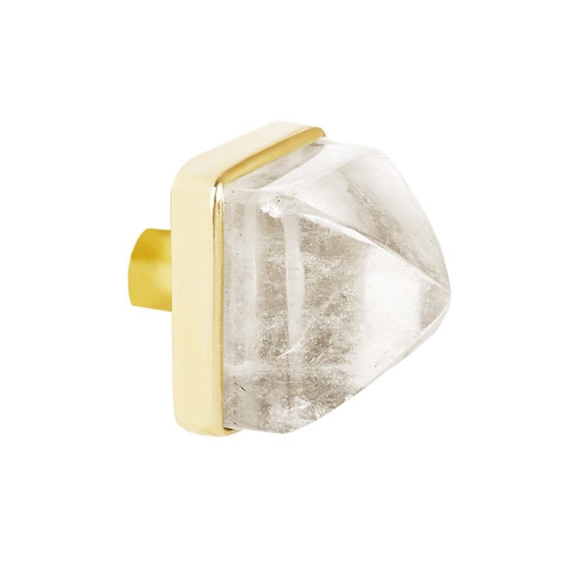 Hayden Large Knob by Matthew Studios in Clear Quartz and Polished Brass