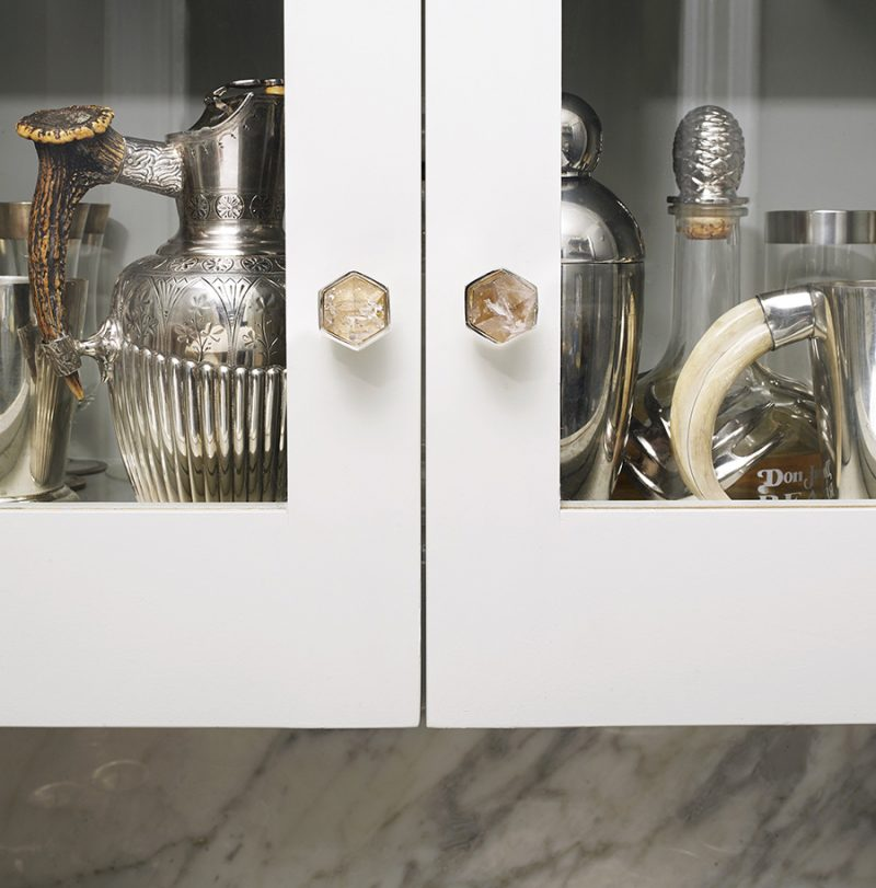 Thea Large Knob by Matthew Studios in Smokey Quartz and Polished Nickel.