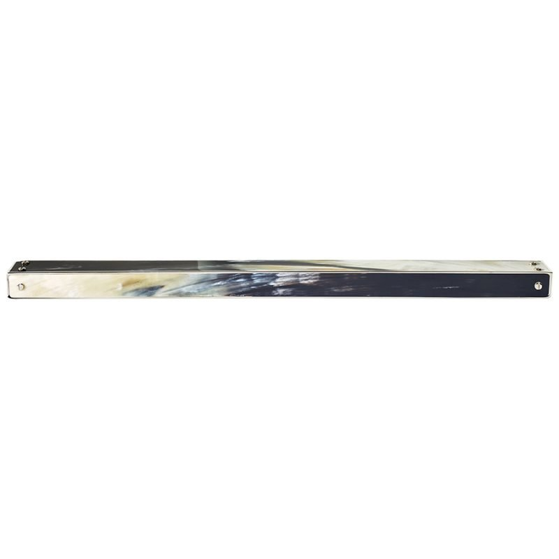 Langston Large Edge Pull by Matthew Studios in Dark Variegated Horn and Polished Nickel