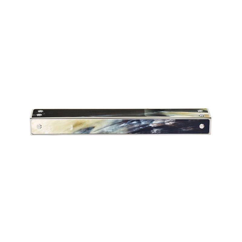 Langston Medium Edge Pull by Matthew Studios in Dark Variegated Horn and Polished Nickel