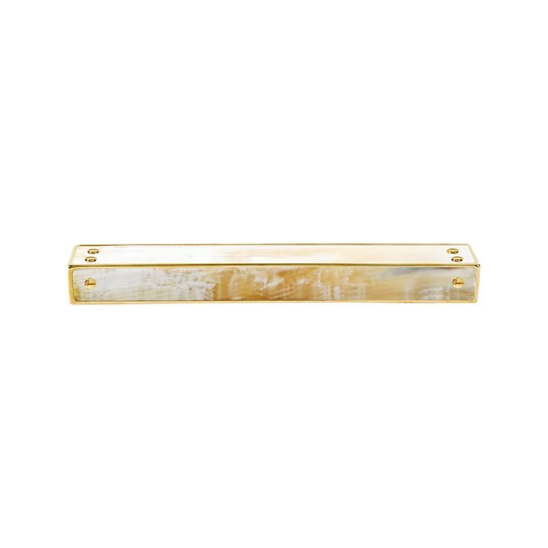 Langston Medium Edge Pull by Matthew Studios in White Colorful Horn and Polished Brass