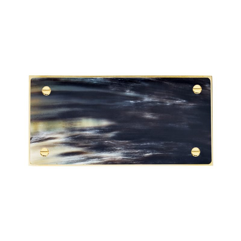 Langston Rectangle Pull by Matthew Studios in Dark Variegated Horn and Polished Brass