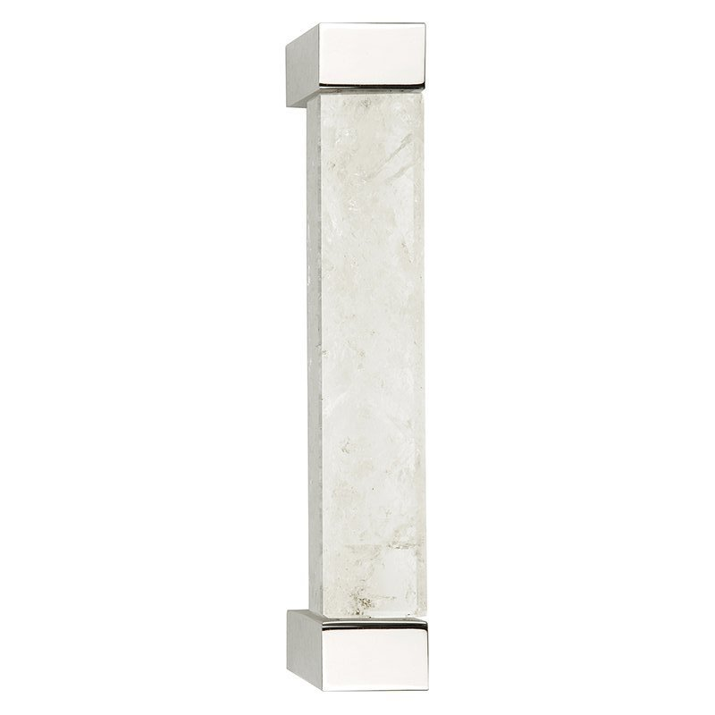 Rowan Large Pull by Matthew Studios in Clear Quartz and Polished Nickel.