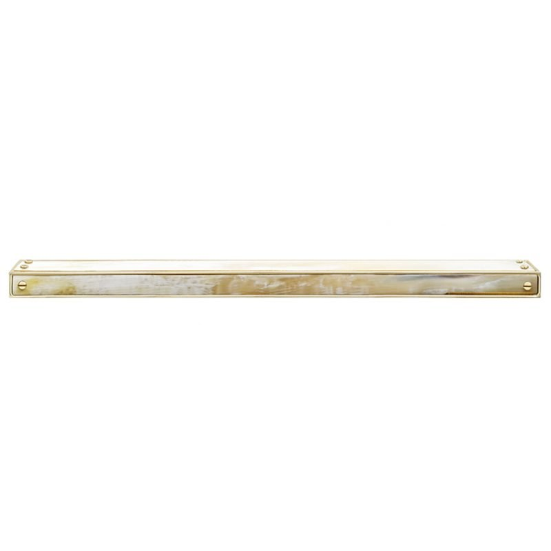 Langston Large Edge Pull by Matthew Studios in White Colorful Horn and Polished Brass