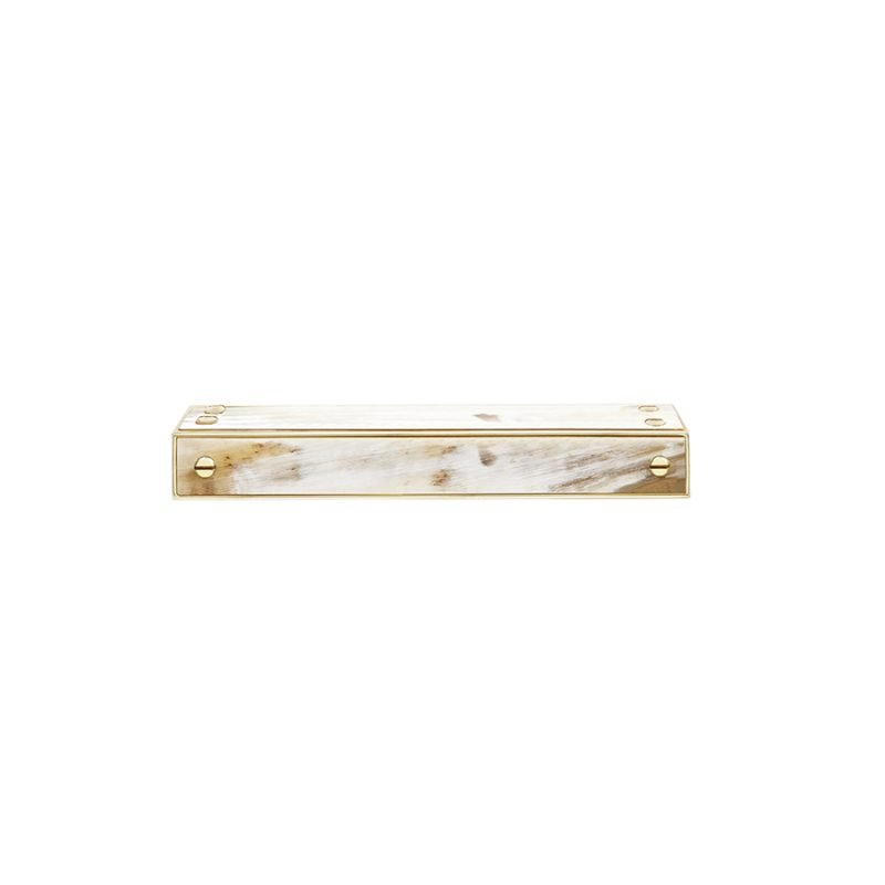 Langston Small Edge Pull by Matthew Studios in White Colorful Horn and Polished Brass