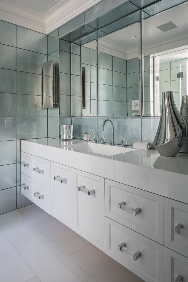 Small Rowan Pull by Matthew Studios in Clear Quartz and Polished Chrome. Interiors by J Cohler Mason Design.